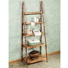 Brown Ladder Shelf Black Wooden Four Rectangle Black Wooden Ladder Shelves With Four