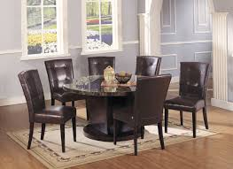 acme danville 7 pc round marble top dining table set in black by