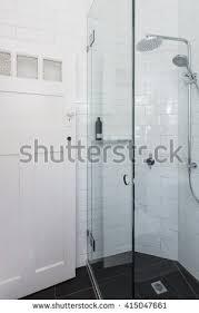 modern walk shower mosaic full height stock photo 490411684