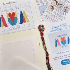 geometric diy mothers day card cross stitch kit by stitchkits
