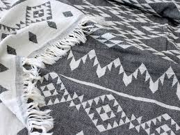 White Throws For Sofas Aztec Throw Blanket Navajo Picnic Blanket Black By Ontherainbow