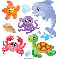 clipart of a cute starfish dolphin octopus crab sea turtle and sea