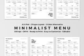 minimalist food menu flyer templates creative market