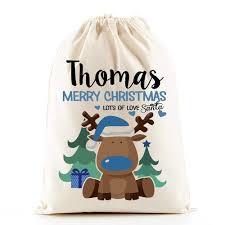 personalised santa sacks reindeer boys co uk