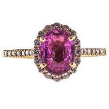 sti wedding ring certified 2 41 carat pink sapphire white diamond halo gold