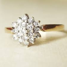 flower engagement ring vintage vintage engagement ring 9k gold 19 flower cluster ring