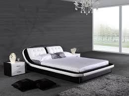 King Size Leather Bed Frame Design Modern Wave Shape Black King Size Leather Bed 1025