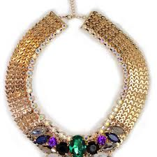 colored necklace images Majestic multi color rhinestone collar and earring set all jpg