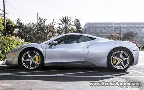 silver 458 italia 458 italia spotted in orange california on 11 26 2012