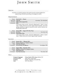 Free Sample Resume Templates Word