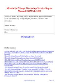 mitsubishi mirage workshop service repair manual by kai kaik issuu