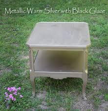 metallic warm silver with black glaze furniture finish