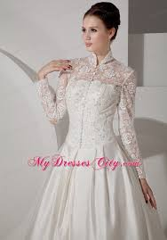 a line high neck long sleeves taffeta lace bridal gown