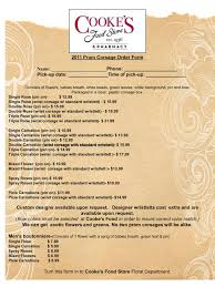 prom corsage prices cooke s food store prom corsage order forms