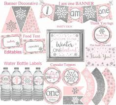 Winter Onederland Party Decorations Winter Onederland Party Decorations Pink And Silver Party