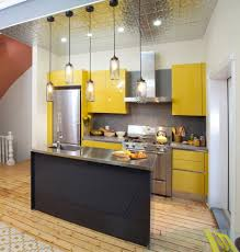 design awesome yellow and metallic surfaces small kitchen design
