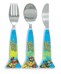 teenage mutant ninja turtles half shell heroes triangle cutlery