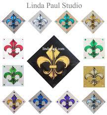 fleur de lis hand painted glass tile inserts in tons of colors for your kitchen or bathroom wall decor 2 x 4 x 4 and larger glue on or install between
