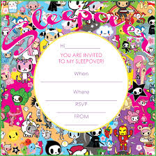 sleepover party invites tokidoki birthday party free printable tokidoki party invitation
