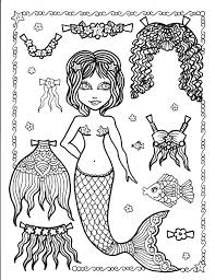 design pages to color mermaid paper doll 5 pages to color and cut and by chubbymermaid