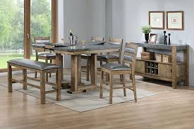counter height dining table with bench poundex f2444 1714 1715 6 pc barrister ii collection rustic