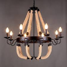 Vintage Wrought Iron Chandeliers American Countryside Style Rope Vintage Wrought Iron Chandelier
