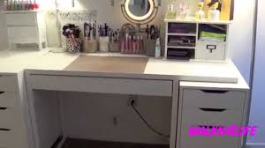 Ikea White Vanity Table Furniture Beauty Dress Up With Makeup Desk With Lights