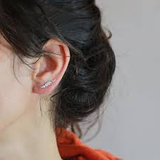 ear climber earring silver ear climber earring ear pins ear sweep ear crawler