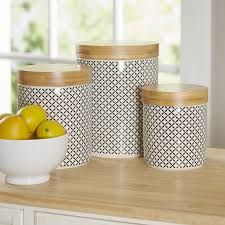 brown kitchen canister sets birch wilshire 3 kitchen canister set reviews wayfair