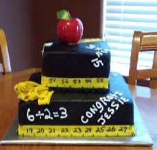 graduation for a math teacher chalk board cake with apple