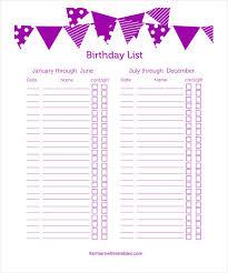 23 birthday list templates u2013 free sample example format