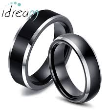 his and hers wedding bands two tone tungsten wedding bands set for women and men flat