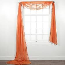 Orange Panel Curtains 1 Pc Solid Scarf Valance Soft Sheer Voile Window Panel Curtain 216