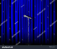 vintage metal microphone against blue curtain stock vector