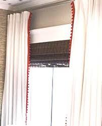 red pom pom trim curtain