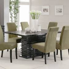 furniture long black chair metal thin legs modern dining table furniture refreshing jade colored seats with indoor plant and lily decor for modern dining table