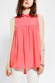 baby doll blouses lyst outfitters cooperative collared babydoll blouse in pink