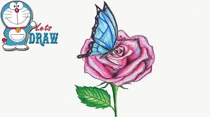 how to draw butterfly on the flower by