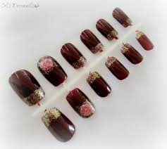 burgundy press on nails golden french tips nail set celdeconail