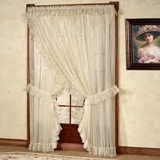 Sheer Ruffled Curtains Bedroom Ideas Sheer Ruffled Curtains And Valance With Tieback