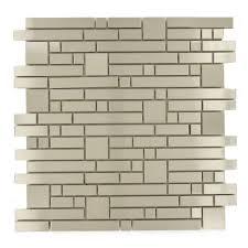 Brushed Stainless Steel Backsplash by Random Bricks Stainless Steel Random Brick Brushed Metal Tile 411 037