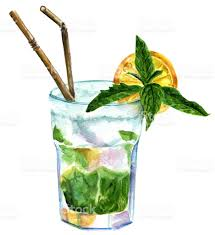 watercolor cocktail watercolor mojito cocktail with mint lemon and drinking straws