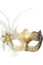 venetian mask blooming beauty venetian mask white gold purecostumes