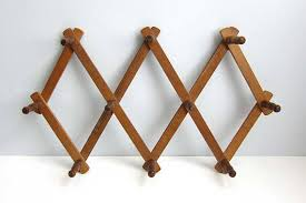 vintage wood accordion folding wall coat hat rack features 10 peg
