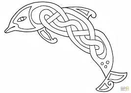 celtic dolphin design coloring page free printable coloring pages