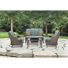 Patio Dining Sets With Fire Pits by Ventura 4 Piece Wicker Lounge Set W Fire Pit Blue Hanover