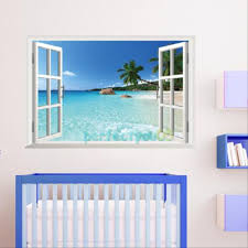 Bedroom Wall Stickers Uk Daily Removable Beach Sea 3d Window View Scenery Wall Sticker