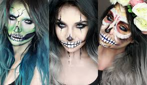 Halloween Skeleton Faces by Halloween Makeup Ideas Green Cracked Skull Creepy Clown Sugar