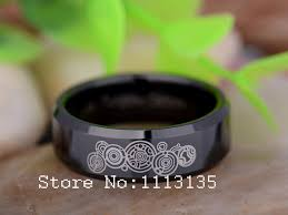 doctor who wedding ring hot sale the design of the supernatural 8mm black beveled doctor