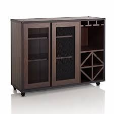 amazon com kissemoj wood bar wine rack liquor cabinet sideboard